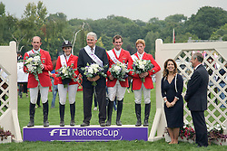 Team Germany winner of The FEI Nations Cup of England<br /> Wulschner Holger, Meyer Janne Frederieke, chef d'equipe Sonke Sonksen, Weishaupt Philippe, Ehning Markus, FEI President HRH Princess Haya, Finding Andres (British Equestrian Federation)<br /> The Longines Royal International Horse Show Hickstead 2011<br /> © Hippo Foto - Beatrice Scudo