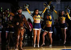 Jan 27, 2018; Morgantown, WV, USA; A West Virginia Mountaineers dance team member performs before the game at WVU Coliseum. Mandatory Credit: Ben Queen-USA TODAY Sports