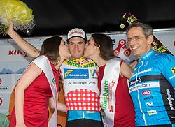 06.07.2017, Kitzbühel, AUT, Ö-Tour, Österreich Radrundfahrt 2017, 4. Etappe von Salzburg auf das Kitzbüheler Horn (82,7 km/BAK), Siegerehrung, im Bild v.l. Stephan Rabitsch (AUT, Team Felbermayr Simplon Wels) im Bergtrikot und Sponsor Horst Felbermayr // Stephan Rabitsch of Austria (Team Felbermayr Simplon Wels) wearing the king of the mountains jersey on podium during the 4th stage from Salzburg to the Kitzbueheler Horn (82,7 km/BAK) of 2017 Tour of Austria. Kitzbühel, Austria on 2017/07/06. EXPA Pictures © 2017, PhotoCredit: EXPA/ Reinhard Eisenbauer