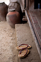 Traditional Japanese 'geta' sandals at Ryukyu Mura - a theme park dedicated to celebrating ancient Okinawan culture.