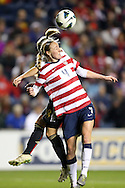 20 October 2012: Becky Sauerbrunn (USA) (4) heads the ball away from Svenja Huth (GER) (18). The United States Women's National Team played the Germany Women's National Team at Toyota Park in Bridgeview, Illinois in a women's international friendly soccer match. The game ended in a 1-1 tie.
