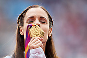 Great Britain, London - 2017 August 07: Ekaterini Stefanidi from Greece kisses her gold medal while awarding ceremony in women&rsquo;s pole vault  during IAAF World Championships London 2017 Day 4 at London Stadium on August 07, 2017 in London, Great Britain.<br /> <br /> Mandatory credit:<br /> Photo by &copy; Adam Nurkiewicz<br /> <br /> Adam Nurkiewicz declares that he has no rights to the image of people at the photographs of his authorship.<br /> <br /> Picture also available in RAW (NEF) or TIFF format on special request.<br /> <br /> Any editorial, commercial or promotional use requires written permission from the author of image.