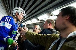 Mitja Robar of Slovenia with journalists Sinisa Urosevic, Rok Tamse and Toni Gruden in mix zone after the Ice Hockey match between Slovenia and Denmark at Day 11 in Group B of 2015 IIHF World Championship, on May 11, 2015 in CEZ Arena, Ostrava, Czech Republic. Photo by Vid Ponikvar / Sportida