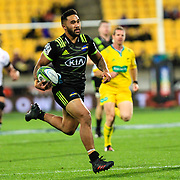 Vince Aso   runs with the ball during the Super Rugby union game between Hurricanes and Sunwolves, played at Westpac Stadium, Wellington, New Zealand on 27 April 2018.   Hurricanes won 43-15.