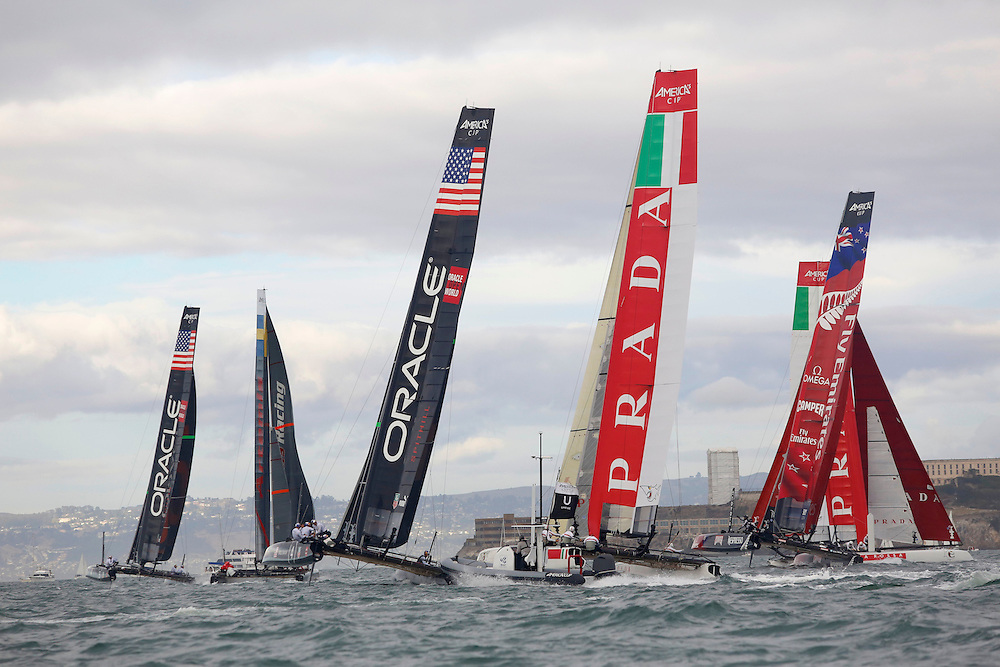 Action from the Fleet Races   at the America's Cup World Series in San Francisco. Mandatory Credit: Dinno Kovic