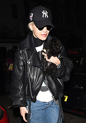 Singer Rita Ora arriving back in London from Paris with her ting dog 'Cher'. London, UK. 02/04/2015<br />