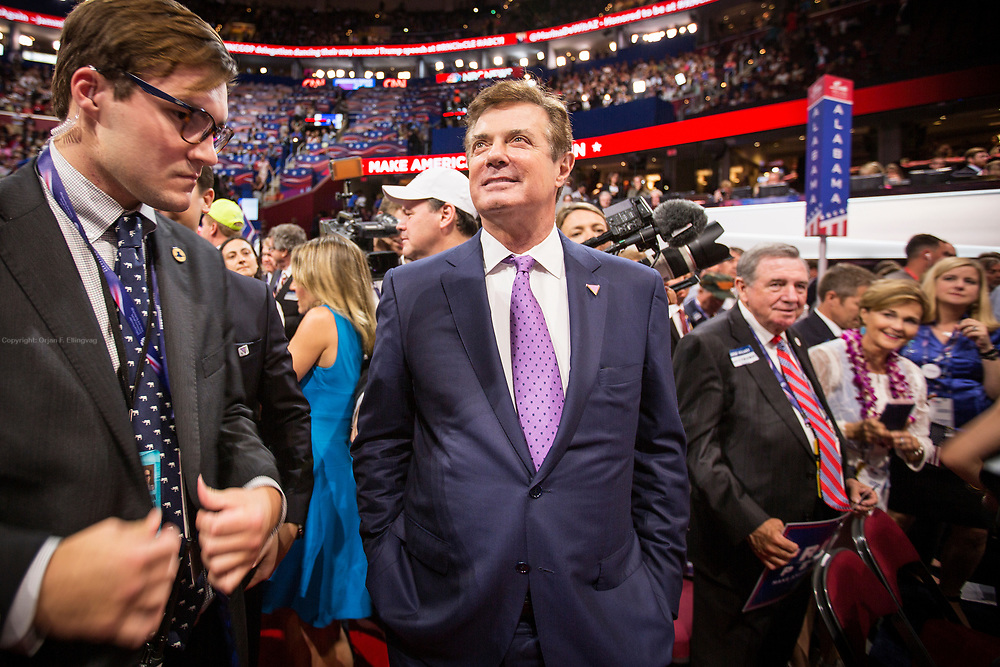 Campaign Manager for the Trump Presidential bid, Paul Manafort, at the Republican National Convention in Cleveland moments before Donald J. Trump holds his acceptance speech as the Republican Presidential Nominee.