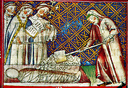 Scene from the 14th Century, illustrated manuscript the Breviari d'amor. It illustrates the seven Acts of Mercy. Here  is shown burying the dead