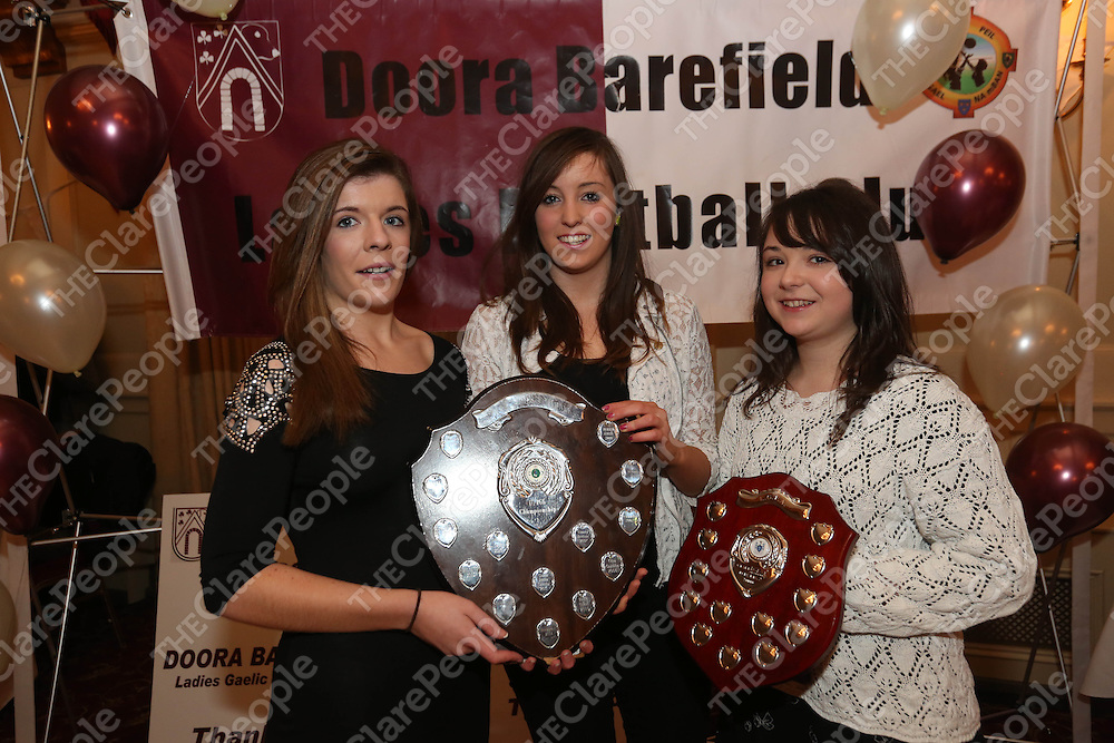 Ellen Meaney, Orla Mulchrone and Michelle Nolan pictured at the DooraB for the Ladies Football Medal Presentation at the Old Ground Hotel on Saturday.<br /> Pic. Brian Arthur/ Press 22.