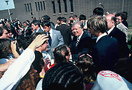 Jimmy Carter shaking hands in Detroit Michigan in October 1980.<br /> <br /> by Dennis Brack