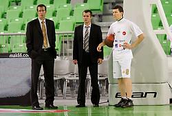 Jaka Daneu, Miro Alilovic and Vlado Ilievski (6) of Olimpija  during basketball match between KK Union Olimpija (SLO) and Panathinaikos (GRE) in Group D of Turkish Airlines Euroleague, on November 4, 2010 in Arena Stozice, Ljubljana, Slovenia. (Photo By Vid Ponikvar / Sportida.com)