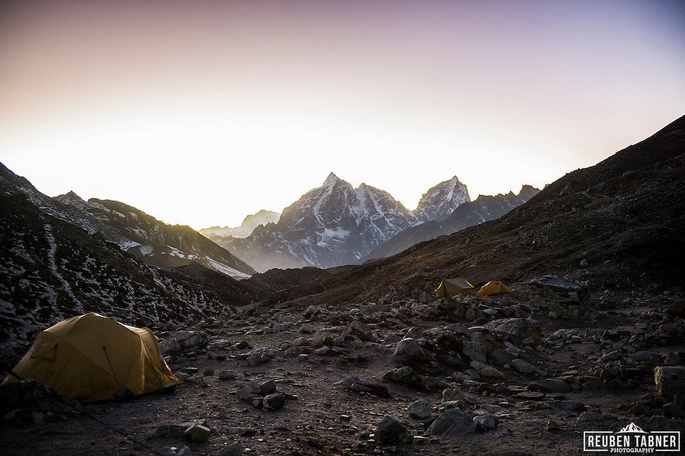 Island Peak base camp at dusk, looking back towards Chhukhung and Tabuche Peak (6367m) and Cholatse (6335m).