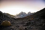 Island Peak base camp at dusk, looking back towards Chhukhung and Tabuche Peak (6367m) and Cholatse (6335m).