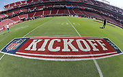 The 2017 NFL kickoff logo is painted on the field in this general view photograph of Levi's Stadium taken before the San Francisco 49ers 2017 NFL week 1 regular season football game against the Carolina Panthers, Sunday, Sept. 10, 2017 in Santa Clara, Calif. The Panthers won the game 23-3. (©Paul Anthony Spinelli)