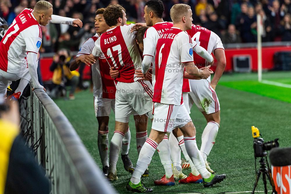 13-03-2019 NED: Ajax - PEC Zwolle, Amsterdam<br /> Ajax has booked an oppressive victory over PEC Zwolle without entertaining the public 2-1 / Noa Lang #37 of Ajax, Daley Blind #17 of Ajax, Matthijs de Ligt #4 of Ajax, Donny van de Beek #6 of Ajax, Joel Veltman #3 of Ajax, Noussair Mazraoui #12 of Ajax