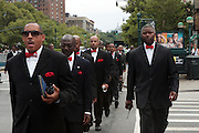 New York, NY-August 13-  Nation of Islam memebers walk at the Millions March in Harlem with keynote speaker Hon. Louis Farrakhan held at the corner of West 110th and Lenox Avenue in Harlem on August 13, 2011 in New York City. Photo Credit: Terrence Jennings