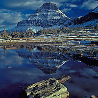 Mout Reynolds with a dusting of new snow in the early fall. Glacier National Park, Montana.
