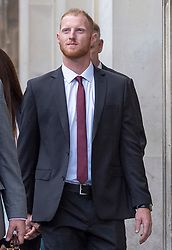 © Licensed to London News Pictures. 08/08/2018. Bristol, UK. England cricketer BEN STOKES and his wife CLARE RATCLIFFE walk to Bristol Crown court today for the third day of his trial on charges of affray that relate to a fight outside a Bristol nightclub on September 25 2017. Stokes and two other men, Ryan Ali, 28, and Ryan Hale, 27, all deny the charge. Stokes, Ali and Hale are jointly charged with affray in the Clifton Triangle area of Bristol on September 25 last year, several hours after England had played a one-day international against the West Indies in the city. A 27-year-old man allegedly suffered a fractured eye socket in the incident. Photo credit: Simon Chapman/LNP