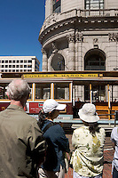 Tourists Waiting at Market Street Cable Car Turnaround, San Francisco, California