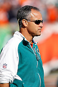 Miami Dolphins Defensive Coordinator Mike Nolan watches pregame warmups during the NFL week 8 football game against the Cincinnati Bengals on Sunday, October 31, 2010 in Cincinnati, Ohio. The Dolphins won the game 22-14. (©Paul Anthony Spinelli)