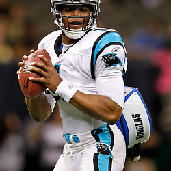 January 1, 2012; New Orleans, LA, USA; Carolina Panthers quarterback Cam Newton (1) prior to kickoff of a game against the New Orleans Saints at the Mercedes-Benz Superdome. Mandatory Credit: Derick E. Hingle-US PRESSWIRE