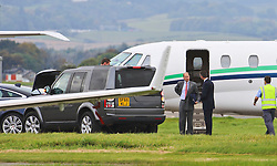 Prince Edward, Earl of Essex arriving in a Cessna 560 Citation Exel at Glasgow International Airport earlier this evening ahead of visiting the Albert Bridge in Glasgow to mark the completion of its GBP3.4 million restoration<br /> <br /> (c) Stephen Smyth| Edinburgh Elite media