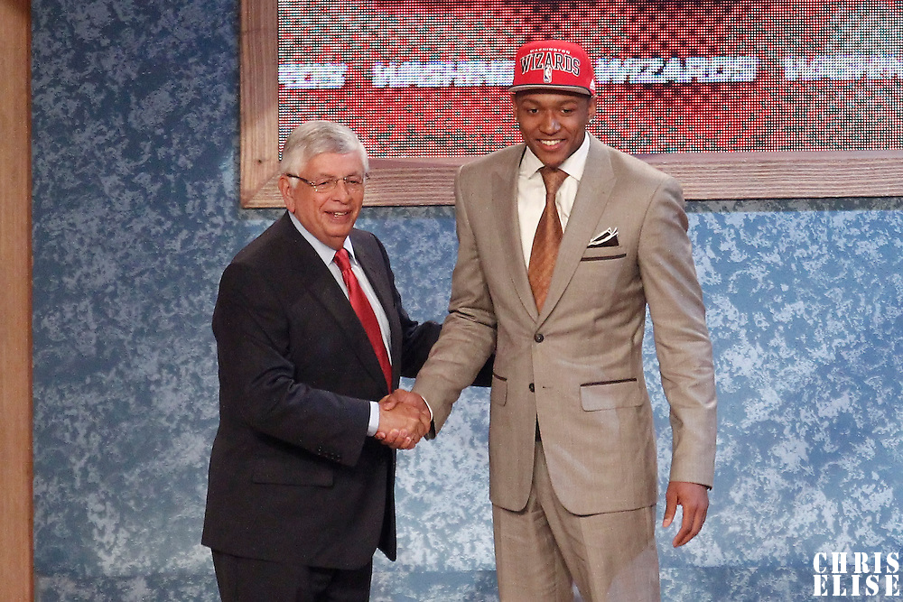 28 June 2012: Bradley Beal, picked up by the Washington Wizards, poses with David Stern during the 2012 NBA Draft, at the Prudential Center, Newark, New Jersey.
