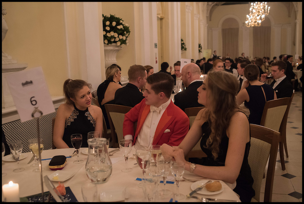 ELISABETH NEUBERT; VERE HARMSWORTH; CHARLOTTE HYMAN, Oxford University Polo club Ball, Blenheim Palace. Woodstock. 6 March 2015