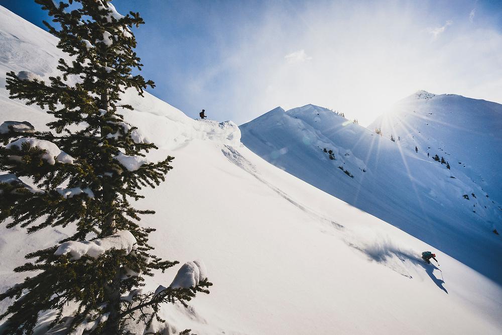 Matt Kennedy drops into Fondue Bowl, Meadow Hut, Esplanade Range, BC.