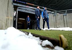 Rory Gaffney and Dom Telford of Bristol Rovers arrive at StadiumMK for the match against Milton Keynes Dons - Mandatory by-line: Robbie Stephenson/JMP - 03/03/2018 - FOOTBALL - Stadium MK - Milton Keynes, England - Milton Keynes Dons v Bristol Rovers - Sky Bet League One