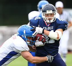 27.07.2010, Wetzlar Stadion, Wetzlar, GER, Football EM 2010, Team France vs Team Great Britain, im Bild Tackle von Daniel Conroy, (Team Great Britain, DB, #1) gegen Guillaume Buquet, (Team France, RB, #41) ,  EXPA Pictures © 2010, PhotoCredit: EXPA/ T. Haumer