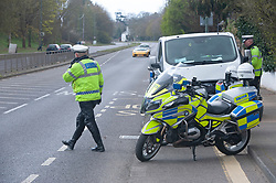 ©Licensed to London News Pictures 31/03/2020  <br /> Bexley, UK.  Motorcycle Met police carrying out speed checks and covid19 checks near Bexley Village, Bexley, Greater London. The Prime Minister Boris Johnson has asked people to stay at home to help in the fight against Covid-19 and to only go out for essential reasons. credit:Grant Falvey/LNP