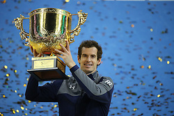 BEIJING, Oct. 9, 2016  Andy Murray of Britain holds up his champion trophy during the awarding ceremony for the men's singles final at the China Open tennis tournament in Beijing, capital of China, Oct. 9, 2016. Murray claimed the title of the event after beating Grigor Dimitrov of Bulgaria 2-0. (Credit Image: © Xing Guangli/Xinhua via ZUMA Wire)
