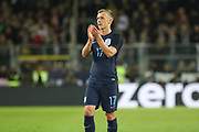 James Ward-Prowse of England applauds the fans during the International Friendly match between Germany and England at Signal Iduna Park, Dortmund, Germany on 22 March 2017. Photo by Phil Duncan.