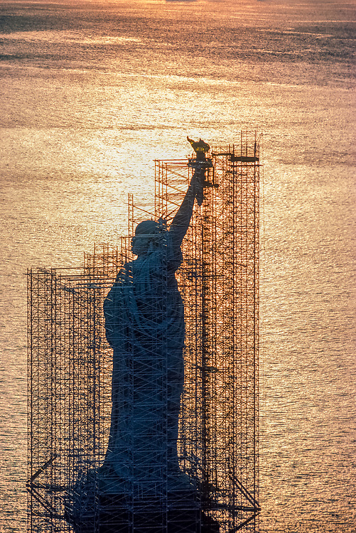 A centennial conservation-restoration of the Statue of Liberty (Liberty Enlightening the World) occurred between 1984 and 1986, Statue of liberty National Monument, New York City, NY