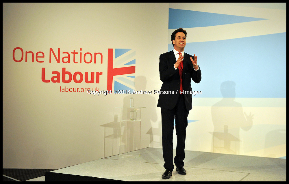 The Leader of the Labour Party Ed Miliband speaks at the Labour Party Special Conference being held at the Excel Centre. London, United Kingdom. Saturday, 1st March 2014. Picture by Andrew Parsons / i-Images
