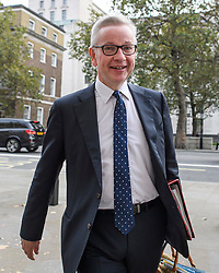 © Licensed to London News Pictures. 03/10/2019. London, UK. Chancellor of the Duchy of Lancaster MICHAEL GOVE MP is seen arriving for cabinet meeting at Downing street in Westminster, London. British Prime Minister Boris Johnson had sent a new Brexit proposal to the EU ahead of an EU summit later this month. Photo credit: Ben Cawthra/LNP