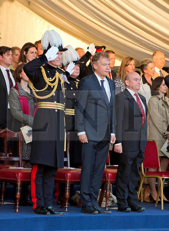 © London News Pictures. 10/06/2015. London, UK. Maj Gen Smyth-Osbourne and The German Ambassador take the general salute to begin the Household Divisions Beating Retreat.. Waterloo 200 themed open air Beating Retreat, performed on Horseguards Parade in London. Photo credit: Sergeant Rupert Frere/LNP