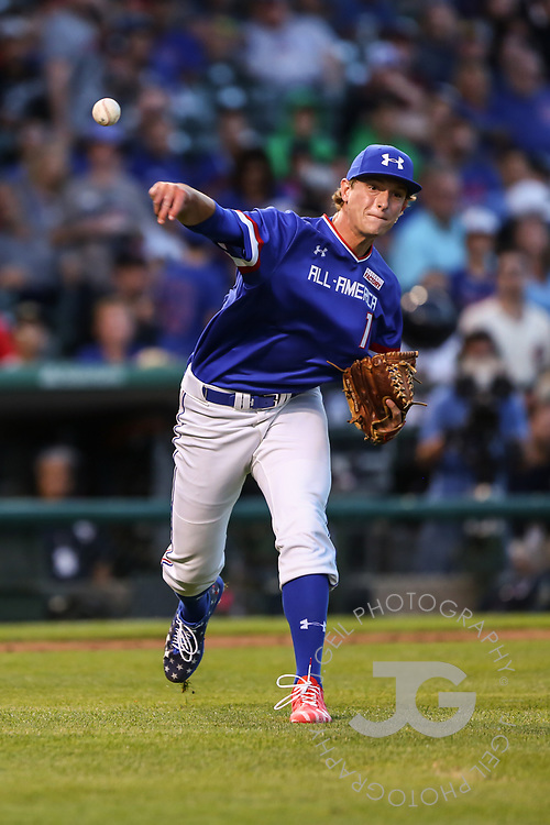 CHICAGO, IL - JULY 29:  Kevin Vargas tosses to first after a ground ball back to the mound during the Under Armour All-America Game at Wrigley Field on Saturday, July 29, 2017 in Chicago, Illinois. (Photo by J. Geil/MLB Photos via Getty Images) *** Local Caption ***