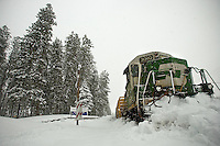 JEROME A. POLLOS/Press..A BNSF Railway Co. engine derailed after trying to plow through two feet of snow Tuesday along Northwest Boulevard at the entrance of the University of Idaho branch campus.
