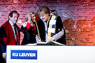 12-1-2017 BRUSSELS - conferral of an honorary doctorate on German Chancellor Angela Merkel. KU Leuven and UGent will jointly award her this honorary title in The Egg in Brussels on Thursday 12 German Chancellor Angela Merkel (C) talks to Rector Anne De Paepe (L) of Belgian UGent university during a ceremony to receive a degree Honoris Causa, or honorary doctorate from the Belgian universities of KU Leuven and UGent in Brussels, Belgium January 12, 2017 January. COPYRIGHT ROBIN UTRECHT <br /> 2017/12/01 BRUSSEL - toekenning van een eredoctoraat aan de Duitse bondskanselier Angela Merkel. KU Leuven en UGent zullen gezamenlijk toekennen haar deze eretitel in The Egg in Brussel op donderdag 12 Duitse bondskanselier Angela Merkel (C) praat met Rector Anne De Paepe (L) van de Belgische UGent universiteit tijdens een ceremonie in een mate Honoris Causa ontvangen, of eredoctoraat van de Belgische universiteiten van de KU Leuven en UGent in Brussel, Belgi&euml; 12 januari 2017 januari. COPYRIGHT ROBIN UTRECHT