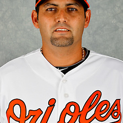 March 1, 2012; Sarasota, FL, USA; Baltimore Orioles relief pitcher Luis Ayala (38) poses for a portrait during photo day at the spring training headquarters.  Mandatory Credit: Derick E. Hingle-US PRESSWIRE
