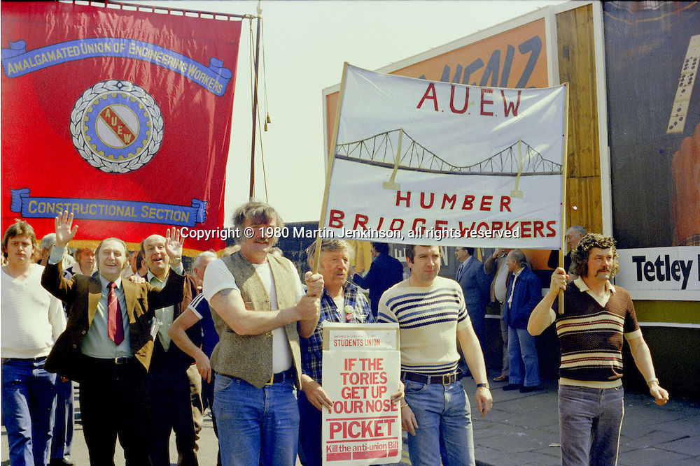 Humber Bridge Workers and AUEW Constructional Section banners at the start of a march against anti trade union legislation. Sheffield 1980.