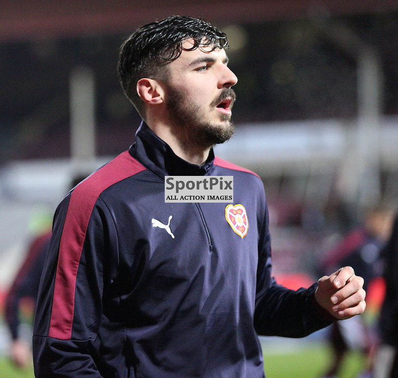 Hearts v Aberdeen Scottish Cup 9 January 2016; a cold Callum Paterson (Hearts, 2) warms up before the Heart of Midlothian v Aberdeen William Hill Scottish Cup fourth round match played at Tynecastle Stadium, Edinburgh; <br /> <br /> &copy; Chris McCluskie | SportPix.org.uk