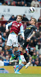 BIRMINGHAM, ENGLAND - Easter Sunday, March 31, 2013: Liverpool's Daniel Agger in action against Aston Villa's Andreas Weimann during the Premiership match at Villa Park. (Pic by David Rawcliffe/Propaganda)