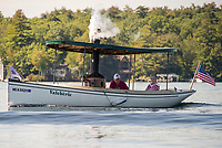 "The steamboat ""Valcherie"" makes her way out of Lees Mill on Lake Winnipesaukee Wednesday afternoon.  (Karen Bobotas/for the Laconia Daily Sun)"