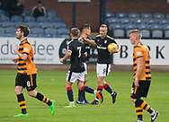 Dundee&rsquo;s Matty Hanvey is congratulated by Jesse Curran after scoring the first of his brace of goals - Dundee under 20s v Alloa Athletic in the Irn Bru Cup Round 1 at Dens Park, Dundee - photograph by David Young<br /> <br />  - &copy; David Young - www.davidyoungphoto.co.uk - email: davidyoungphoto@gmail.com