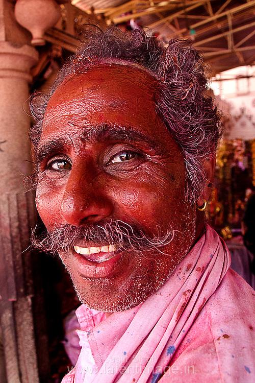 A man from a nearby village in the temple premises to celebrate Holi at Radha Rani Temple, Barsana. Braj ki Holi