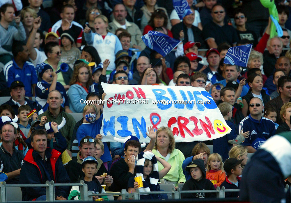 4 April, 2004, Eden Park, Auckland, New Zealand, Super 12 Rugby Union, Auckland Blues v NSW Warratahs.<br />Blues Fans.<br />The Blues defeated the Warraths 22-17<br />Please credit: Andrew Cornaga/Photosport