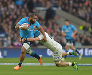 Twickenham Great Britain.   Kelly HAIMONA tackled by James HASKELL, during the 2015 RBS Six Nations Rugby; England vs Italy. RFU Twickenham Stadium. England. Saturday  14/02/2015  [Mandatory Credit; Peter Spurrier/Intersport-images]